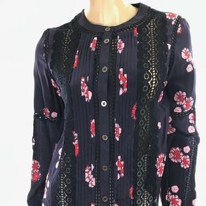 Sea Navy Silk Blouse Pink Red Floral Design New